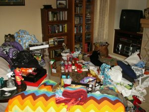Photo of an untidy room